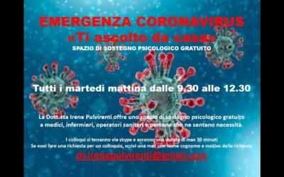 """Emergenza Coronavirus: """"Ti ascolto da casa"""""""
